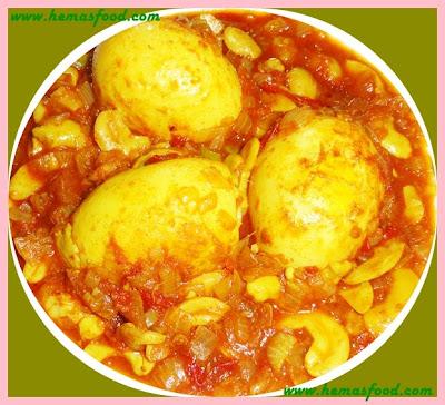 Egg Cashew nut curry - Kodi guddu jeedipappu kura