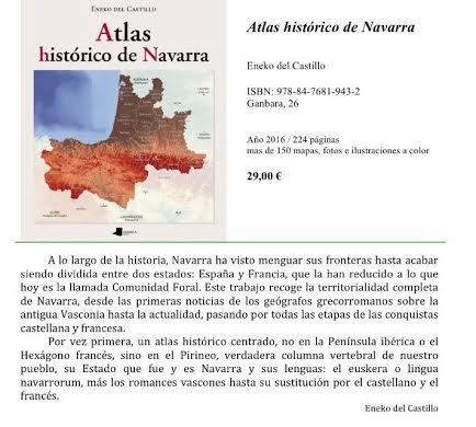 """INVITACIÓN A LA PRESENTACIÓN DEL LIBRO """"ATLAS HISTÓRICO DE NAVARRA"""" DE ENEKO DEL CASTILLO"""