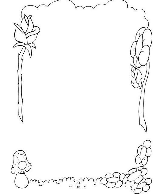 Borde De Flores  Rosa Y Hongo Para Colorear E Imprimir