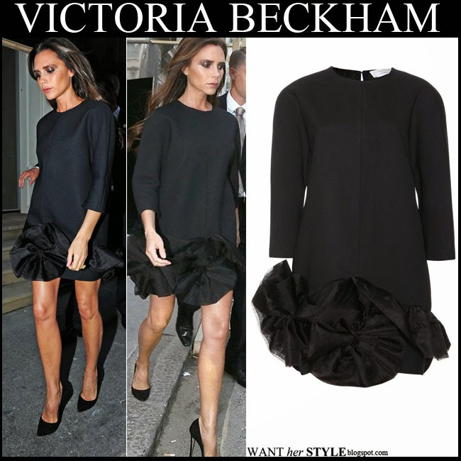 What She Wore Victoria Beckham In Black Ruffle Mini Dress With