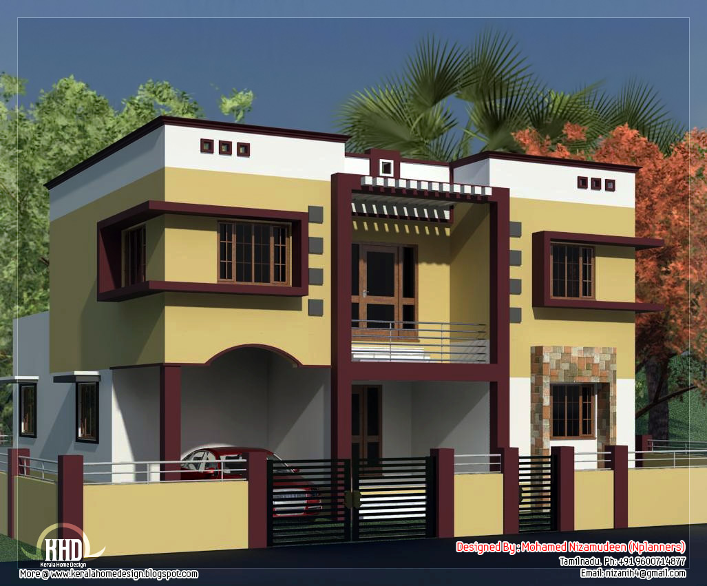 Tamilnadu style minimalist 2135 sq feet house design for Home designs in tamilnadu