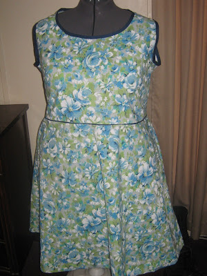 Butterick 4957 Version 4 blue roses green