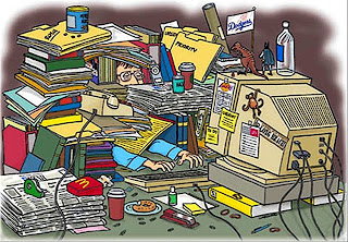 a cartoon of a teacher with a desk full of books and paperwork