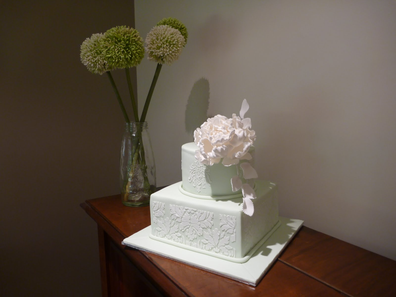 Love Cake 2 Tier Wedding Cake with Stencil and Sugar