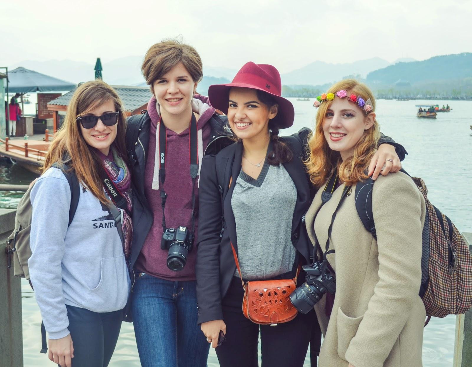 Malak and her friends in Hangzhou, China