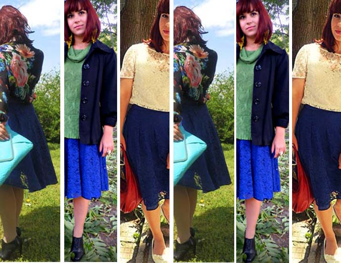 Series of pictures of different outfits that feature the same royal blue lace skirt styled in different ways