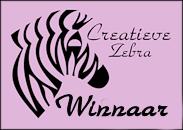 Prijs gewonnen  bij de Creatieve Zebra