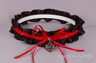 thin red line firefigher wedding garter