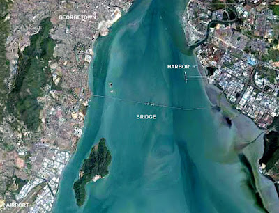 penang georgetown harbor airport and first bridge from space