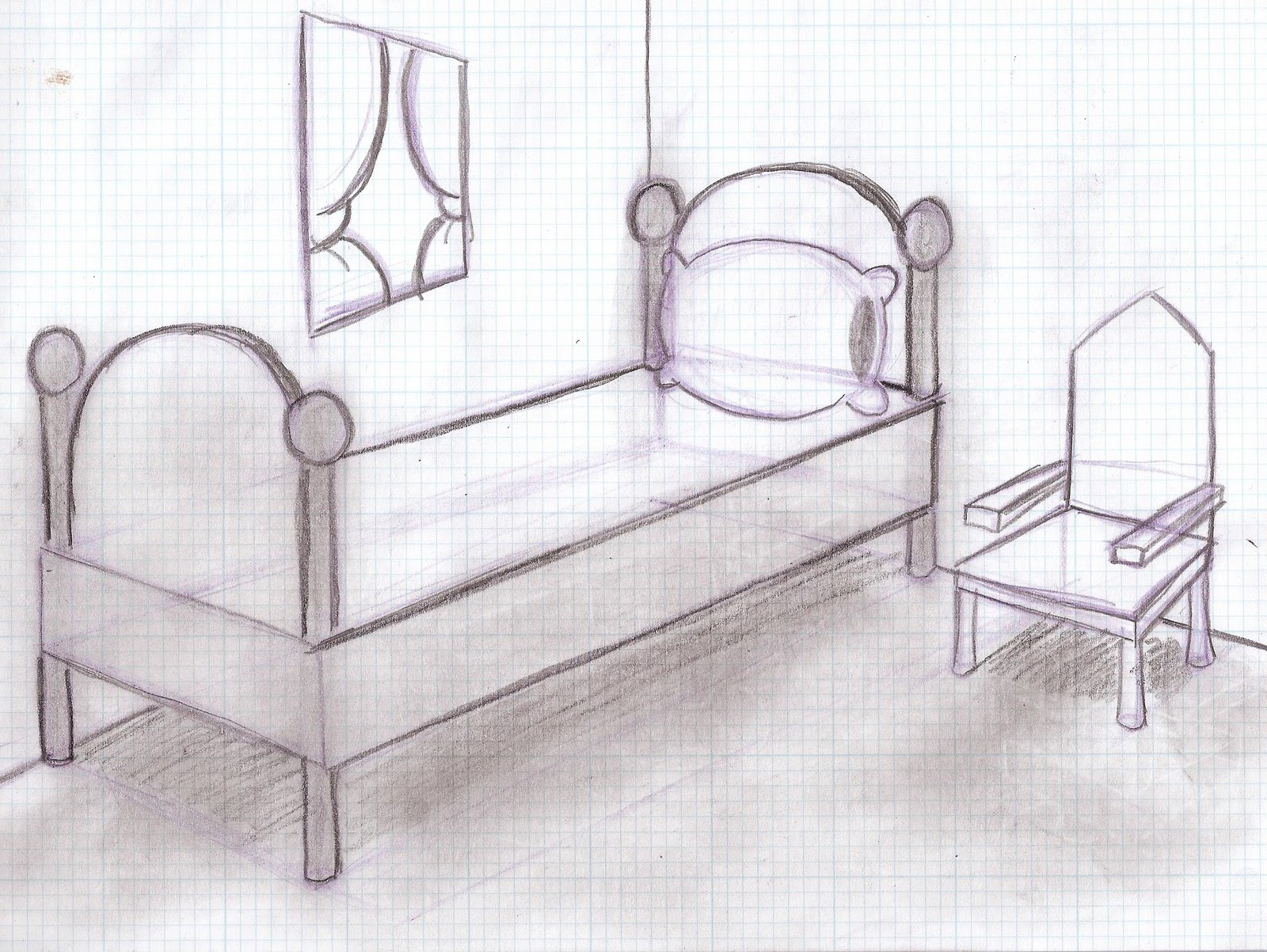 One point perspective living room drawing - One Point Perspective