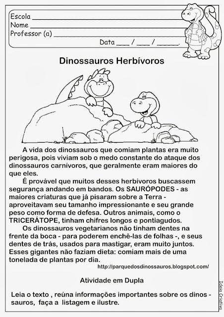 Atividade Sobre Dinossauros Herbívoros