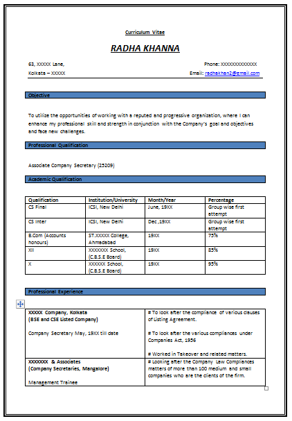 free download link for resume format for experienced company secretary resume format for articleship