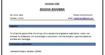 Company secretary resume format