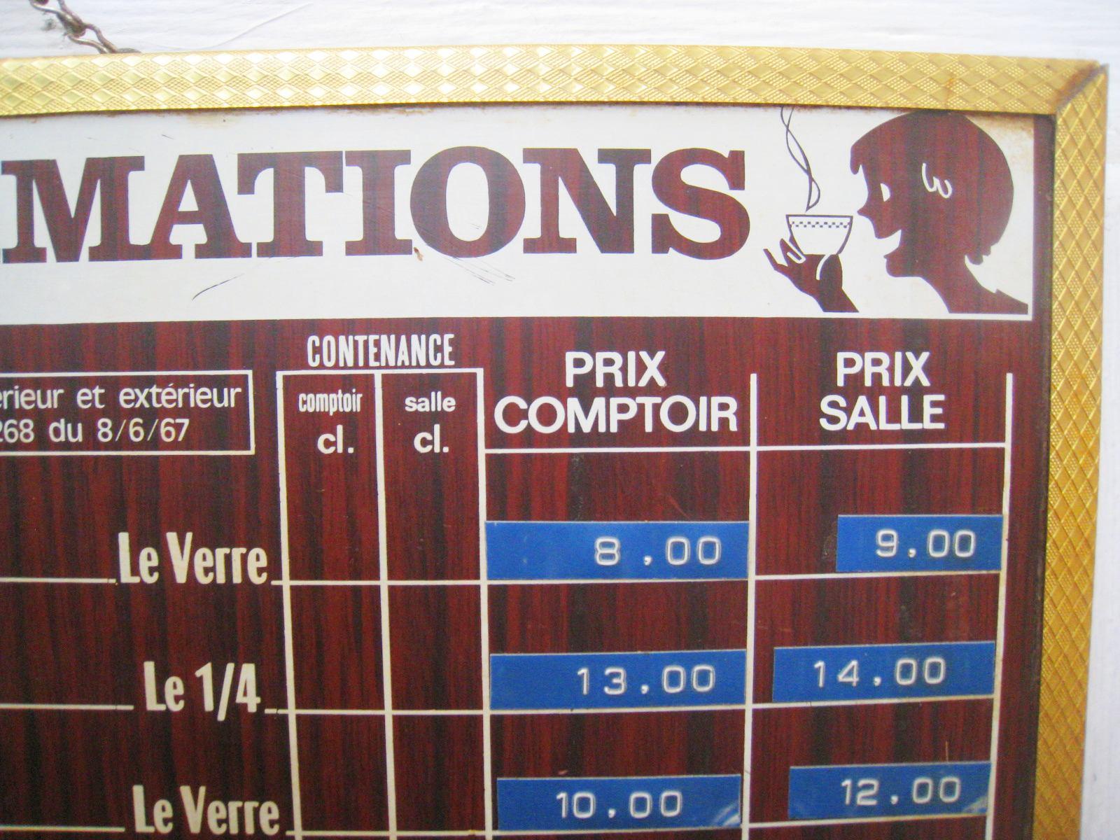"Les dedees vintage recup creations "" TARIF DES CONSOMMATIONS"