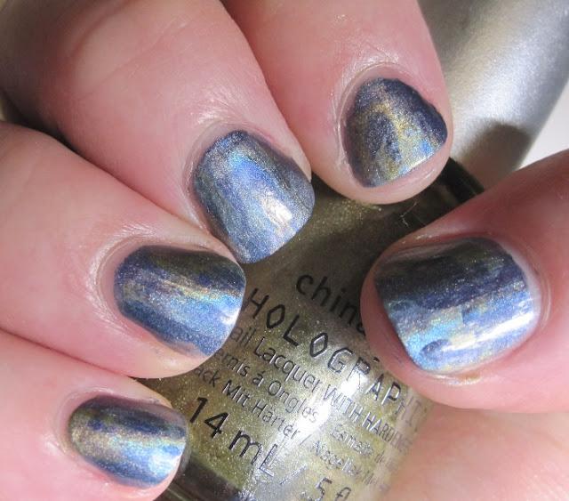 Abstract brushstroke mani using China Glaze hologlams