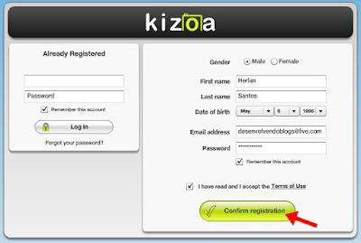Criando conta no Kizoa