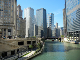 Views of downtown Chicago from the Riverwalk