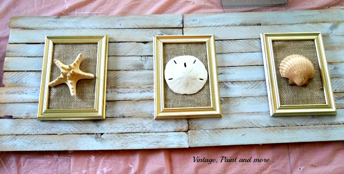 Vintage, Paint and more... beach decor made from wood slats, framed shells on wood slat base, seashell wall art