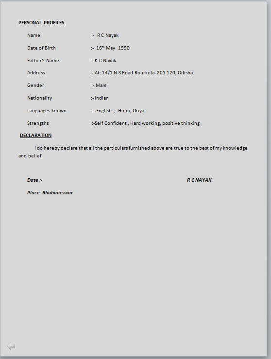Simple Resume Format Sample  Resume Format And Resume Maker