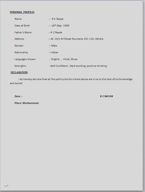 Simple Resume Format  Resume Format And Resume Maker