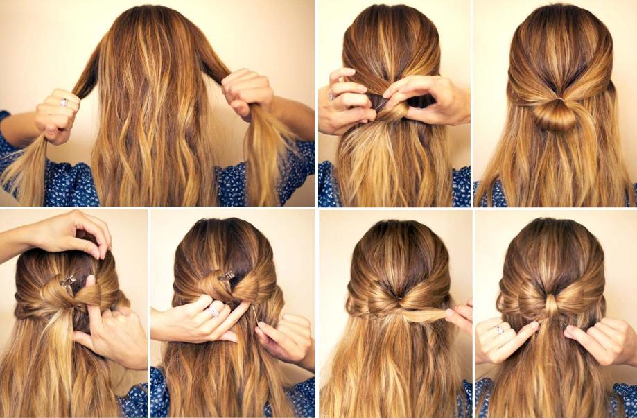 Как сделать бантик из длинного волоса 419