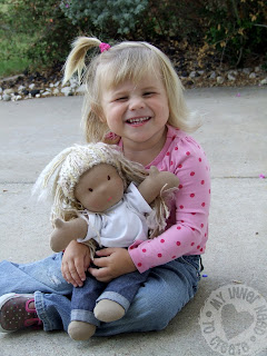 Homemade Waldorf Baby Doll with Little Girl by Little J Bird