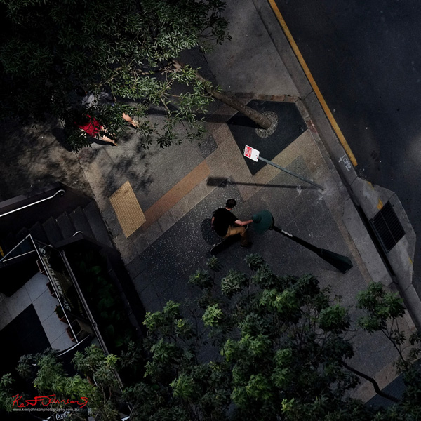 A skateboarder in Albert street Brisbane, seen from the 26th floor. Photo by Kent Johnson.