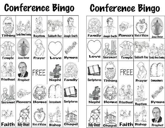 LDS General Conference Bingo
