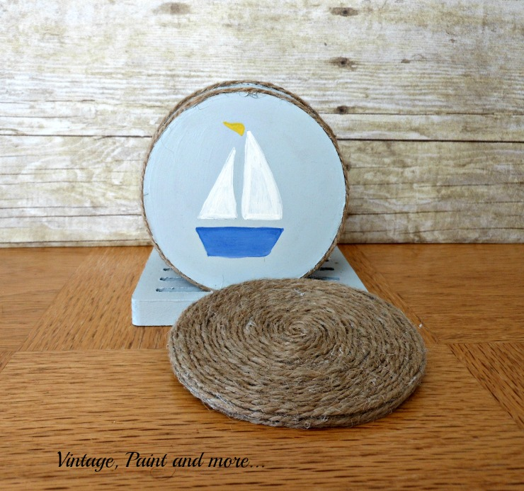 Vintage, Paint and more... DIY nautical coasters with twine wrapped side and stenciled side