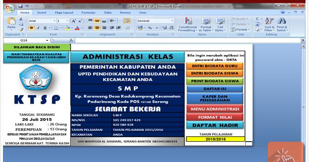 Download Format Aplikasi Administrasi Kelas Smp Ktsp Terbaru 2015