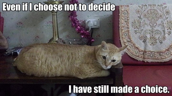 Even if I choose not to decide, I still have made a choice.