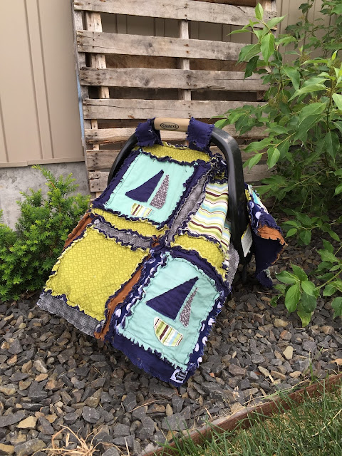 Sail Boat Rag Quilt Car Seat Canopy by A Vision to Remember