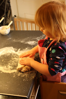 kneading hot cross bun dough