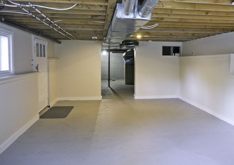 of a low ceilinged basement which was never intended to be finished
