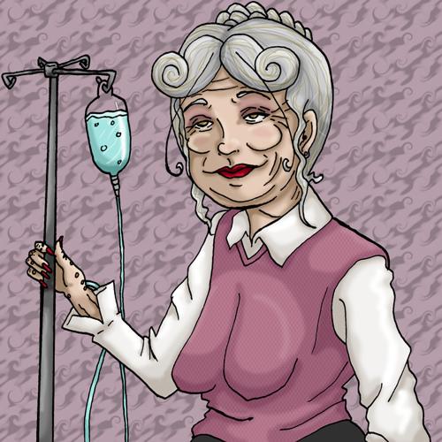 Gammel dame med drop-stativ: 'Jeg er for gammel til dette her'