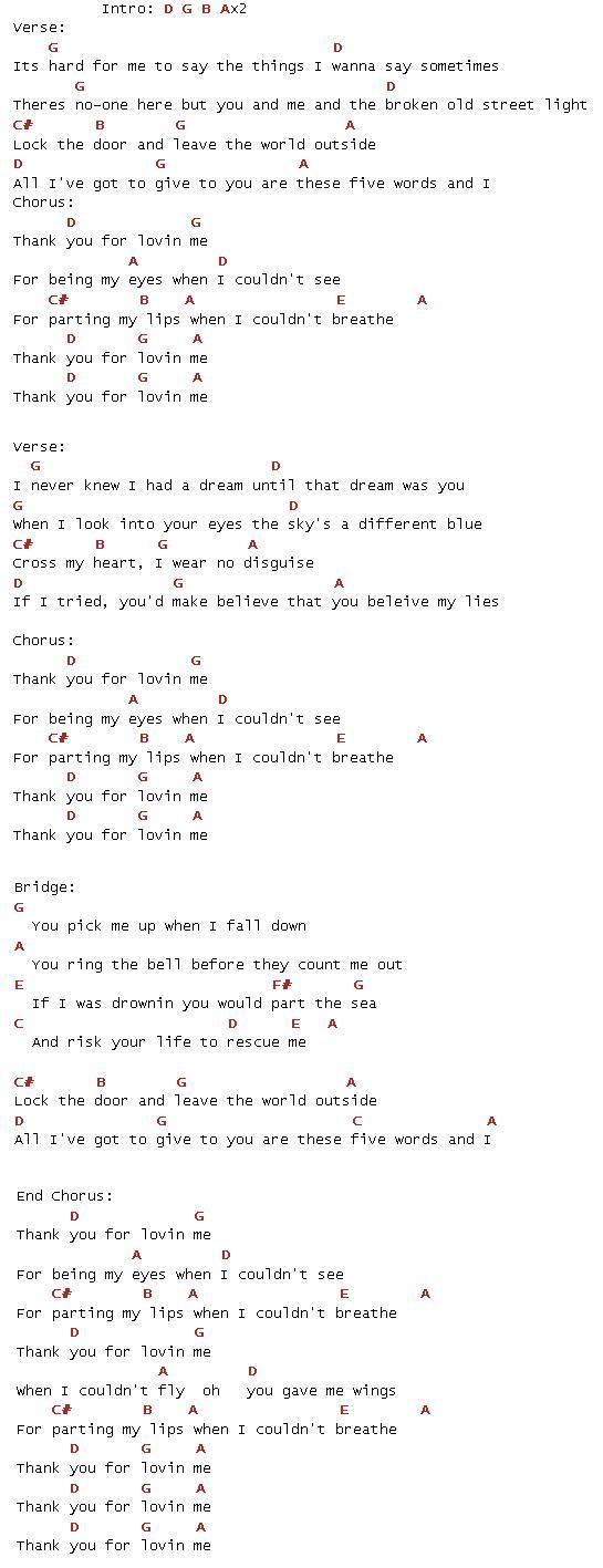 Lirik dan Chord Lagu Thank You for Loving Me(Bon Jovi) | MyNotepat.Com