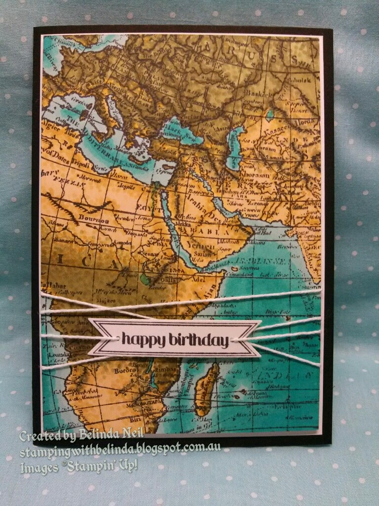 Stampin it up with belinda kylies birthday card world map in working backward with the dark light this was also tricky on the land so i found myself using a lot of dots to map out the colours so to speak sciox Image collections