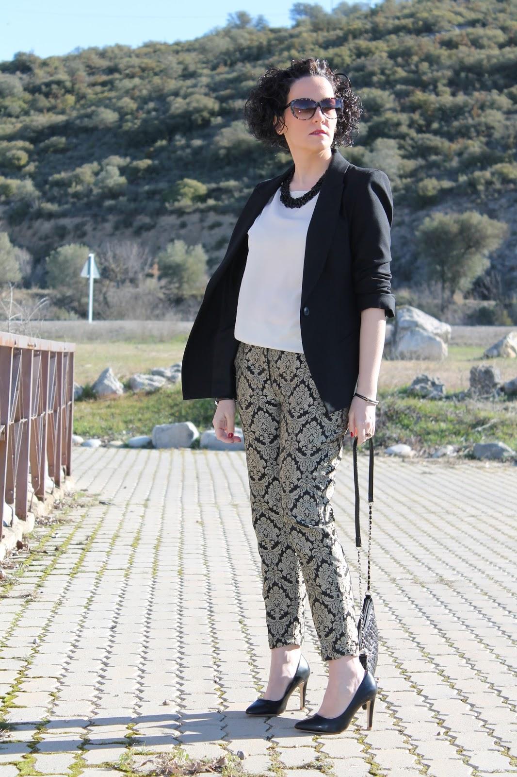 Brocados Dress Pantalones Brocados Inspiration Black Pantalones Ewqg7Y