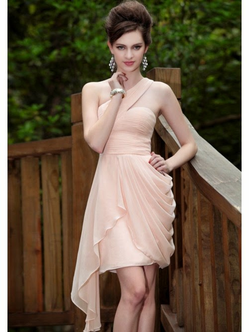 Sheath One-shoulder Sleeveless Dropped Knee-length Chiffon Dress
