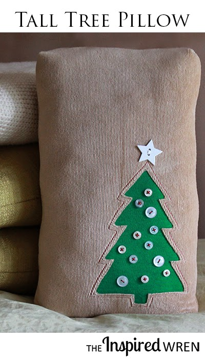Sew a cozy pillow with a Tall Tree Appliqué perfect for the Holiday Season. | The Inspired Wren for Fleece Fun