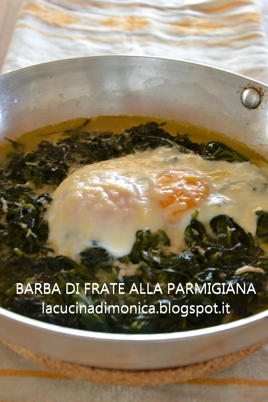 barba di frate alla parmigiana con uova al tegamino