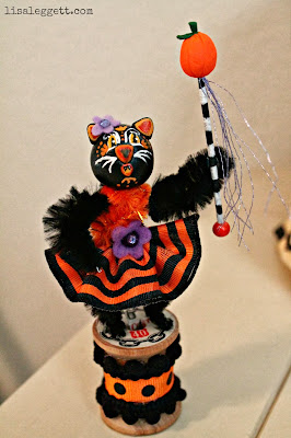 Handmade vintage inspired Halloween Kitty figurine