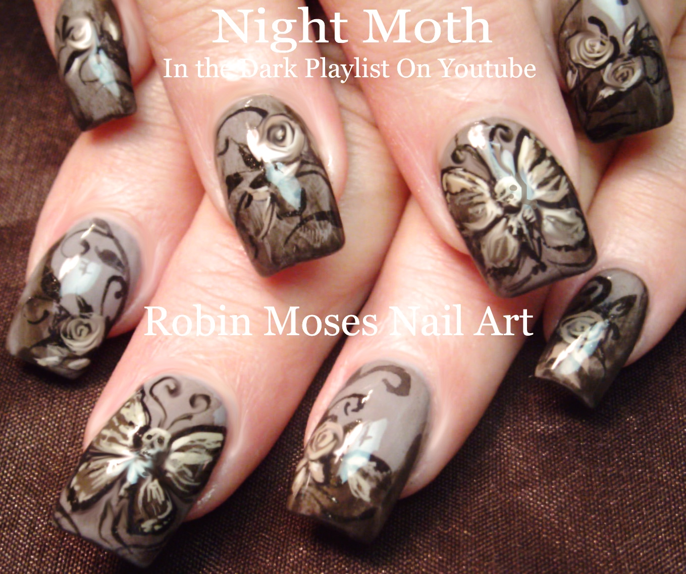 Robin moses nail art skulls and butterflies up today skull nail art skeleton butterfly nails spooky skull roses nail design tutorial prinsesfo Gallery