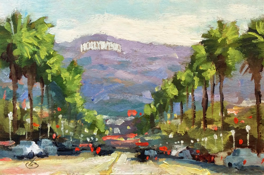 1 AUCTION HOLLYWOOD SIGN PALM TREES PLEIN AIR 6x4 LANDSCAPE By TOM BROWN