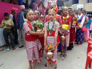 Nepali gorkhali girls in traditional dress fulpati