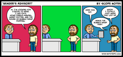 Reader's Advisory Cartoon from 100 Scope Notes