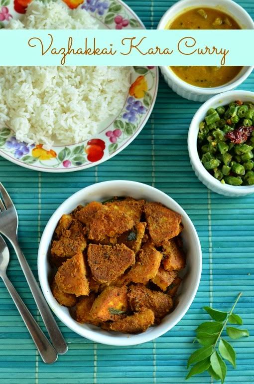 vazhaikkai kara curry/raw banana curry/vazhakkai curry