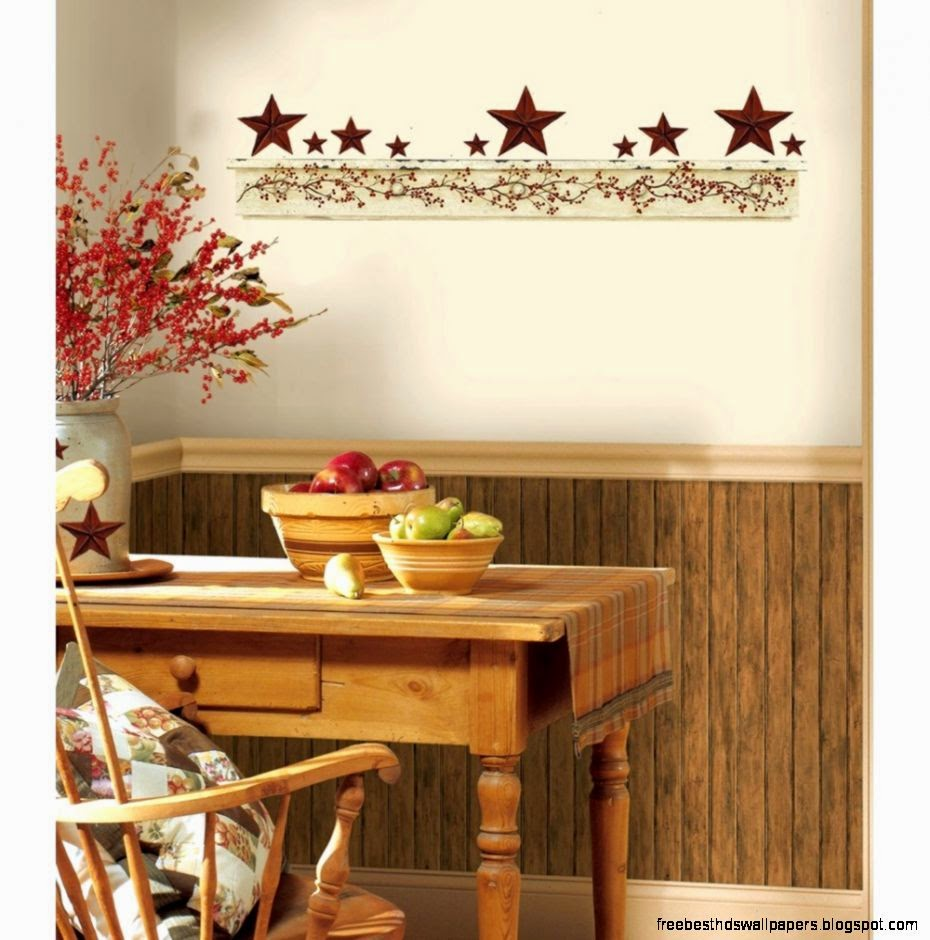 3 Colors Option For Country Kitchen Wallpaper: Country Kitchen Wall Border Wallpaper