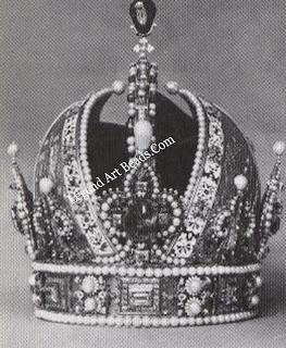 Austrian Imperial Crown. Front view of crown made in Prague. 1602. Schatzkammer, Hofburg. Vienna.