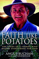 cover of Faith Like Potatoes: the story of a farmer who risked everything for God by Angus Buchan with Jan Greenough and Val Waldeck shows a smiling Angus Buchan